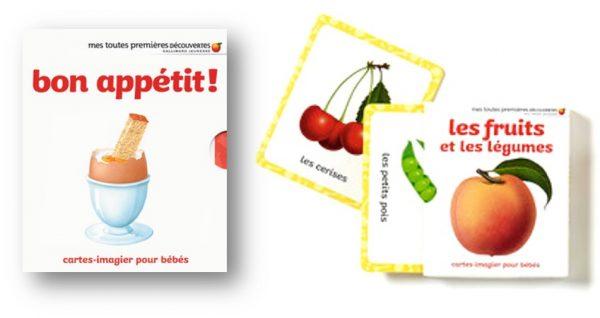 Cartes imagier pour bébé en mousse Fruits et légumes Bon appétit