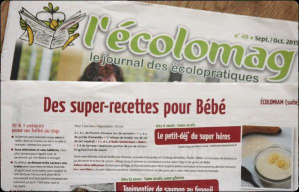 Recettes bébé L'Ecolomag