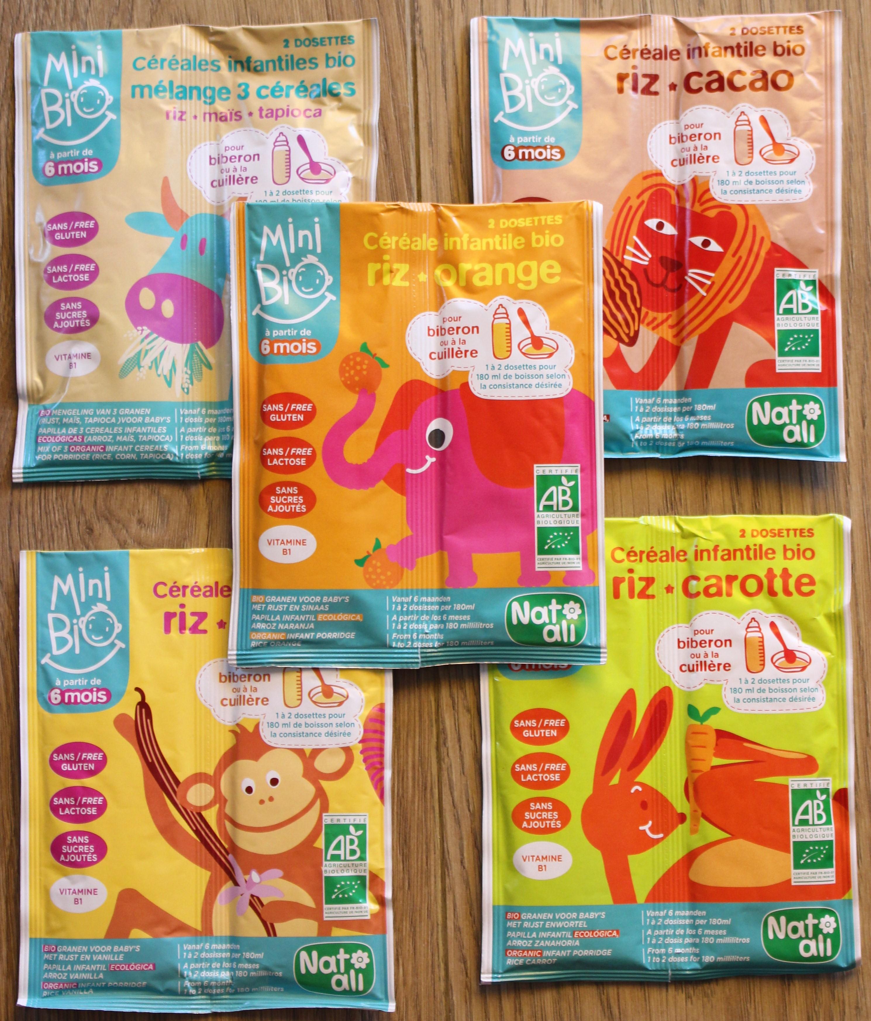 5 saveurs de céréales infantiles bio Mini Bio de Nat'Ali